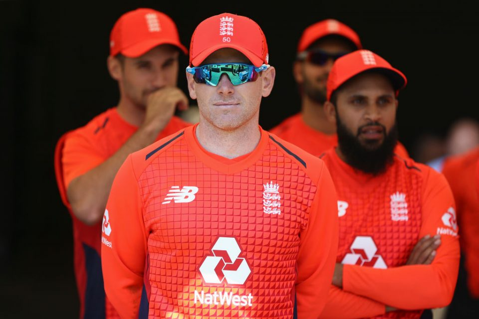 WELLINGTON, NEW ZEALAND - NOVEMBER 03: Eoin Morgan of England looks on during game two of the Twenty20 International series between New Zealand and England at Westpac Stadium on November 03, 2019 in Wellington, New Zealand. (Photo by Hagen Hopkins/Getty Images)
