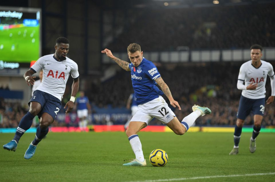 LIVERPOOL, ENGLAND - NOVEMBER 03: Lucas Digne of Everton looks to break past Serge Aurier of Tottenham Hotspur during the Premier League match between Everton FC and Tottenham Hotspur at Goodison Park on November 03, 2019 in Liverpool, United Kingdom. (Photo by Michael Regan/Getty Images)