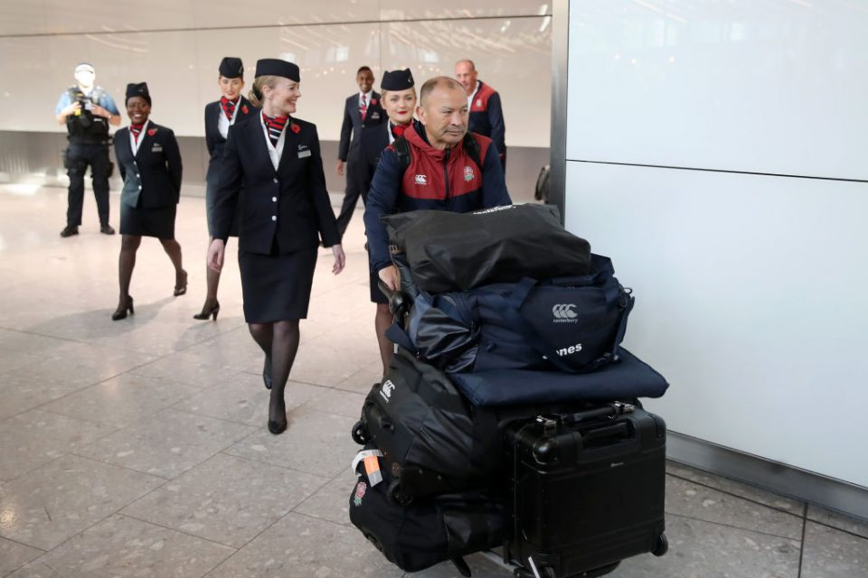 LONDON, ENGLAND - NOVEMBER 04: Eddie Jones, Head Coach of England arrives during the England Rugby World Cup Team Arrivals at Heathrow Airport on November 04, 2019 in London, England. (Photo by Christopher Lee/Getty Images)