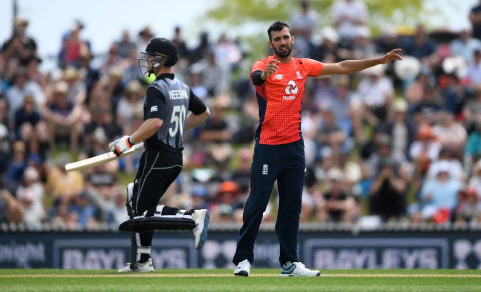 NELSON, NEW ZEALAND - NOVEMBER 05: Saqib Mahmood of England celebrates dismissing Ross Taylor of New Zealand during game three of the Twenty20 International series between New Zealand and England at Saxton Field on November 05, 2019 in Nelson, New Zealand. (Photo by Gareth Copley/Getty Images)