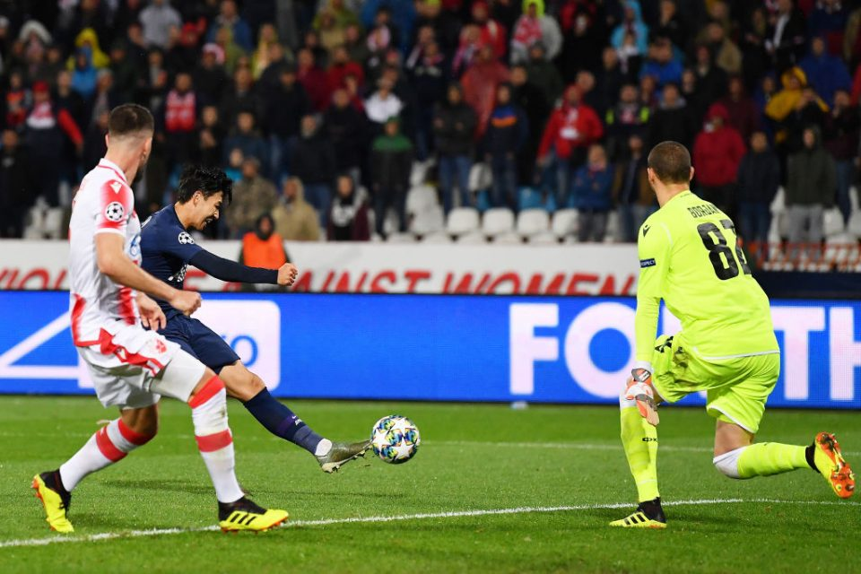 BELGRADE, SERBIA - NOVEMBER 06: Heung-Min Son of Tottenham Hotspur scores his team's second goal during the UEFA Champions League group B match between Crvena Zvezda and Tottenham Hotspur at Rajko Mitic Stadium on November 06, 2019 in Belgrade, Serbia. (Photo by Justin Setterfield/Getty Images)