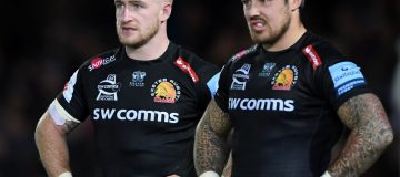 EXETER, ENGLAND - NOVEMBER 10: Stuart Hogg and Jack Nowell of Exeter Chiefs look on dejected after the Gallagher Premiership Rugby match between Exeter Chiefs and Bristol Bears at Sandy Park on November 10, 2019 in Exeter, England. (Photo by Alex Davidson/Getty Images)