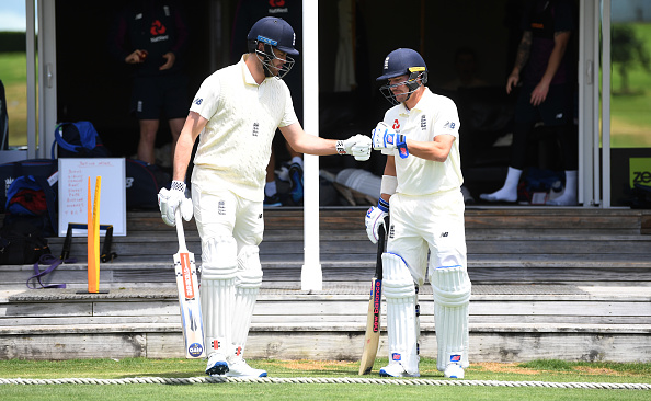 WHANGAREI, NEW ZEALAND - NOVEMBER 12: England opening batsmen Dom Sibley and Rory Burns walk out to bat ahead of the tour match between New Zealand XI and England at Cobham Oval on November 12, 2019 in Whangarei, New Zealand. (Photo by Gareth Copley/Getty Images)