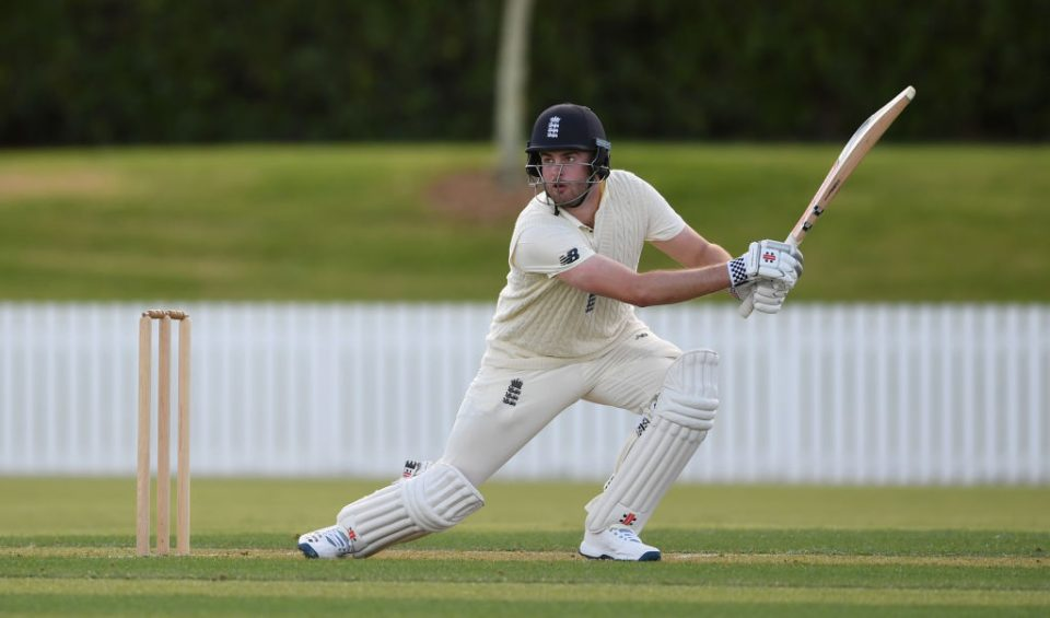 WHANGAREI, NEW ZEALAND - NOVEMBER 12: Dom Sibley of England bats during the tour match between New Zealand XI and England at Cobham Oval on November 12, 2019 in Whangarei, New Zealand. (Photo by Gareth Copley/Getty Images)