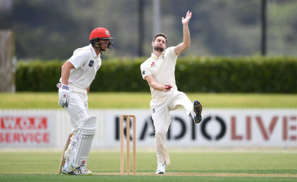 WHANGAREI, NEW ZEALAND - NOVEMBER 13: Chris Woakes of England bowls during the tour match between New Zealand XI and England at Cobham Oval on November 13, 2019 in Whangarei, New Zealand. (Photo by Gareth Copley/Getty Images)