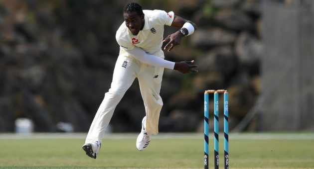 WHANGAREI, NEW ZEALAND - NOVEMBER 17: Jofra Archer of England bowls during day three of the tour match between New Zealand A and England at Cobham Oval on November 17, 2019 in Whangarei, New Zealand. (Photo by Gareth Copley/Getty Images)