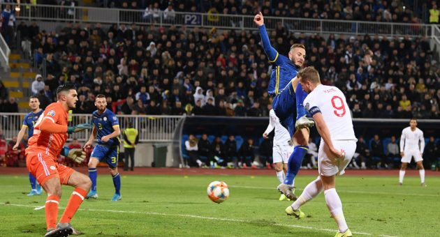 PRISTINA, KOSOVO - NOVEMBER 17: Harry Kane of England scores his team's second goal during the UEFA Euro 2020 Qualifier between Kosovo and England at the Pristina City Stadium on November 17, 2019 in Pristina, Kosovo. (Photo by Michael Regan/Getty Images)