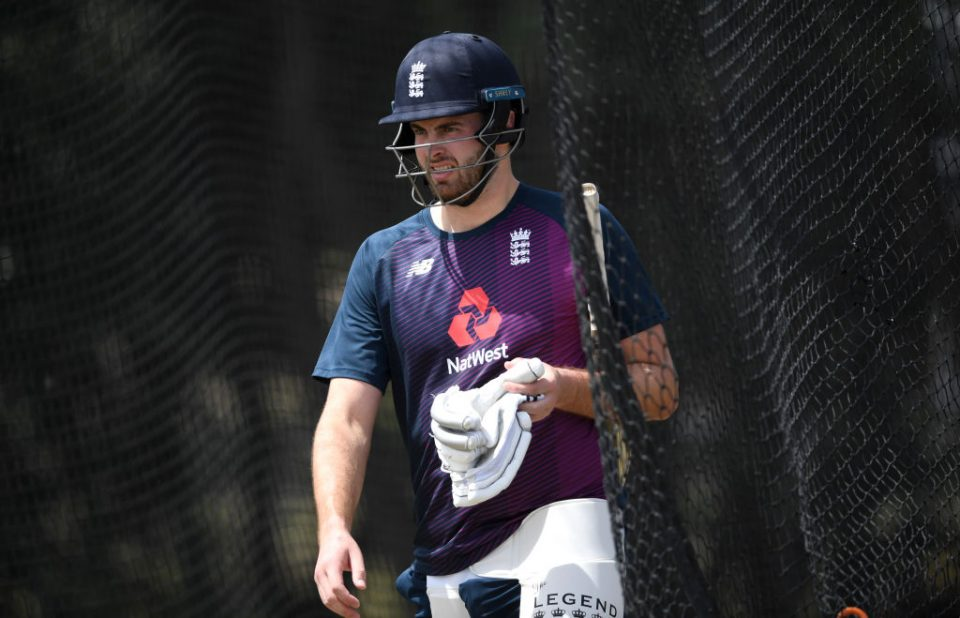 MOUNT MAUNGANUI, NEW ZEALAND - NOVEMBER 19: Dom Sibley of England during a nets session at Bay Oval on November 19, 2019 in Mount Maunganui, New Zealand. (Photo by Gareth Copley/Getty Images)