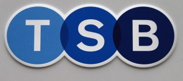 LONDON, ENGLAND - SEPTEMBER 09: The logo of TSB (The Trustee Savings Bank) is pictured as it re-opens on September 9, 2013 in London, England. To meet competition rules set by the European Commission, owners Lloyds Banking Group have disposed of a number of branches that will open as the TSB. (Photo by Peter Macdiarmid/Getty Images)