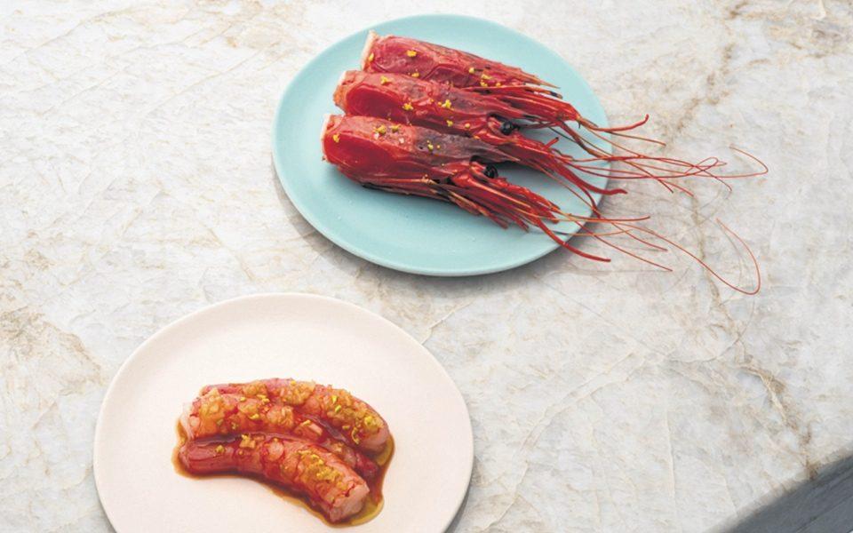 Scarlet prawns