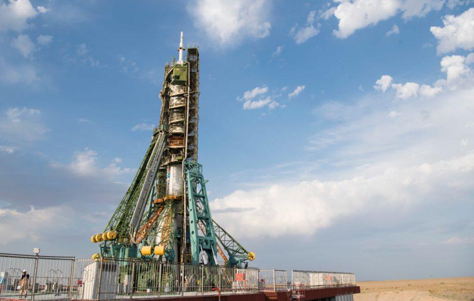 A Soyuz rocket on the launchpad in July 2019