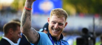 Ben Stokes of England celebrates winning the Cricket World Cup Final