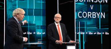 Jeremy Corbyn and Boris Johnson take part in an ITV leaders' debate