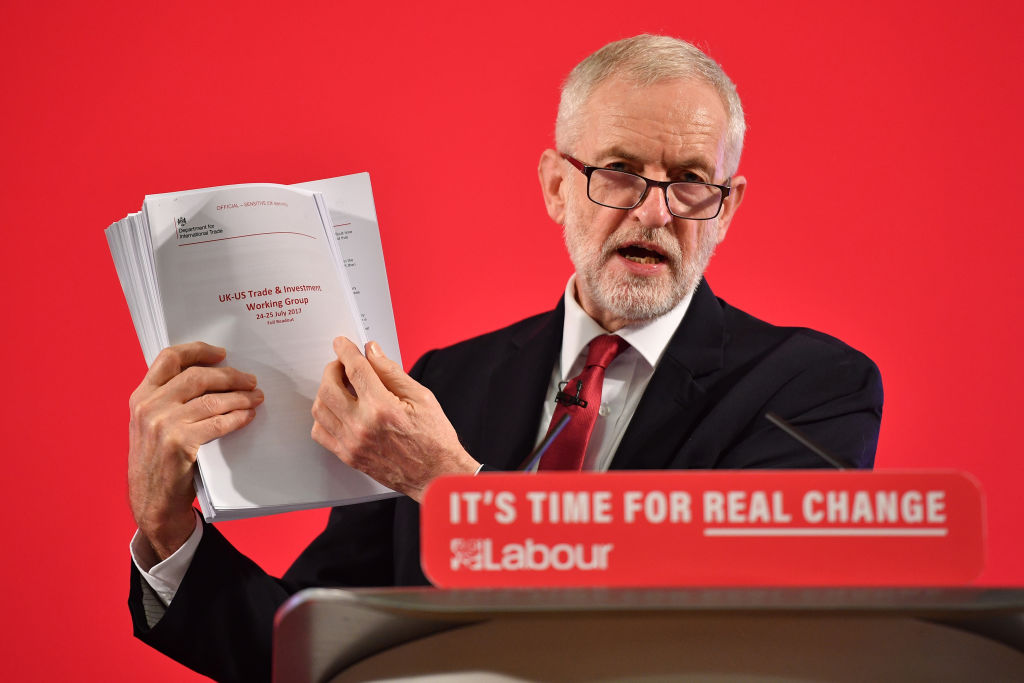 Jeremy Corbyn claimed a 451-page document proved the NHS in on the table in trade talks