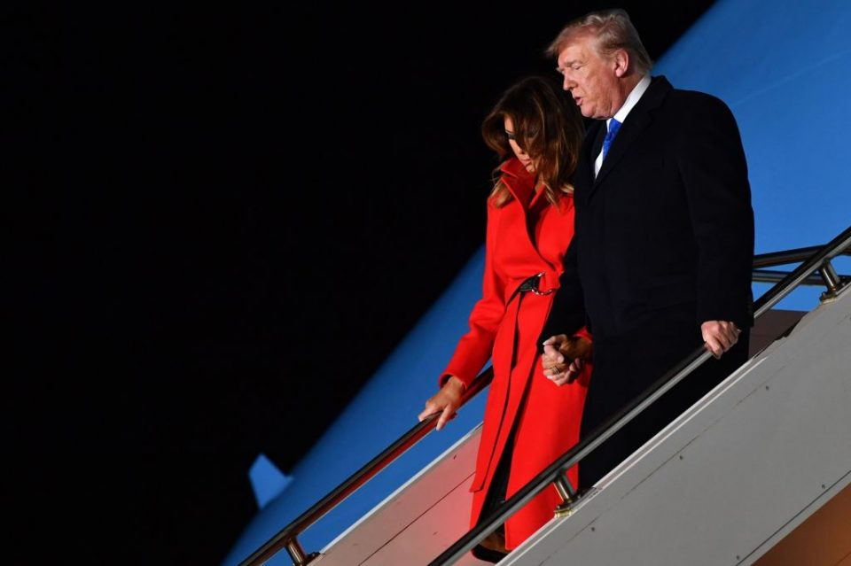Donald Trump and Melania Trump arrive in London for the Nato summit
