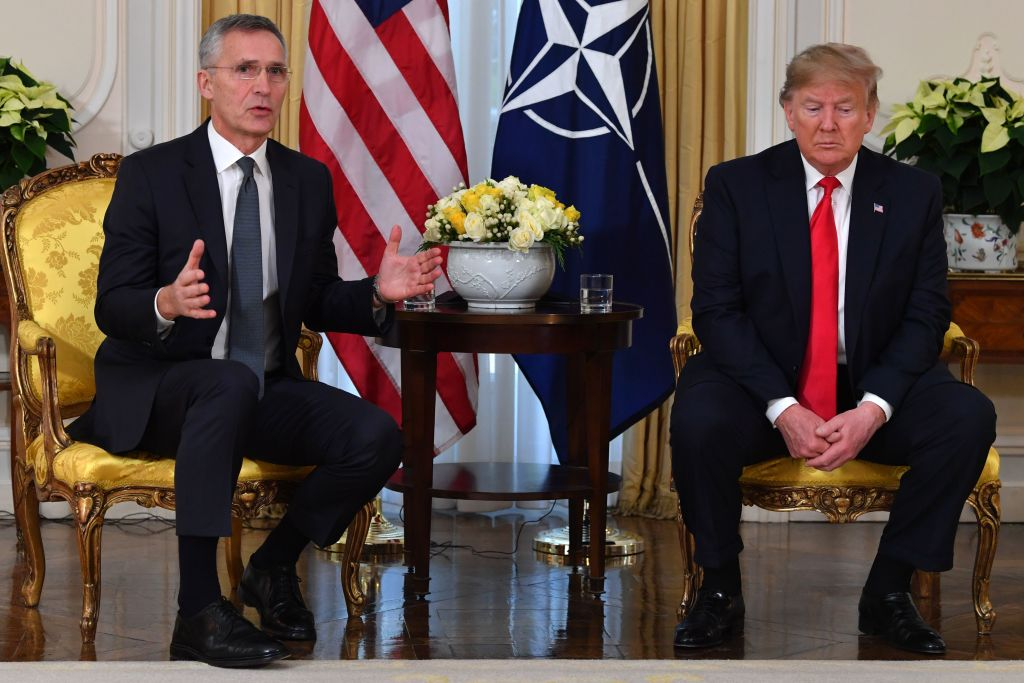 The press conference was supposed to be a short announcement between Trump and Nato secretary general Jens Stoltenberg