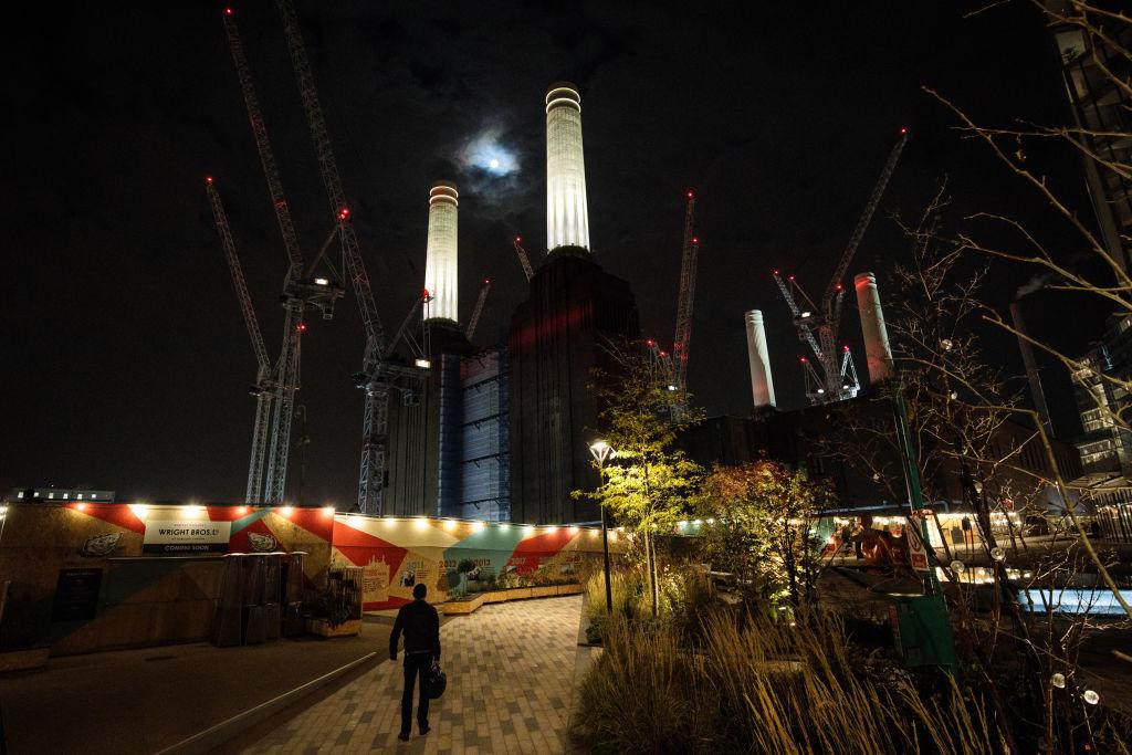 Lighting The Chimneys At Battersea Power Station