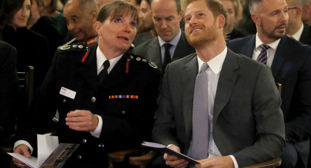 Dany Cotton of the London Fire Brigade alongside Prince Harry in 2017