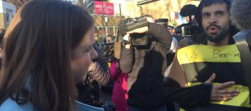 Jo Swinson confronts Extinction Rebellion protesters glued to Lib Dems' electric bus