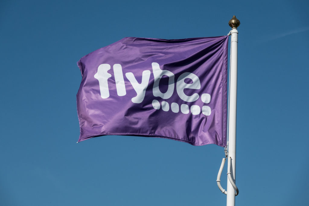 A Flybe flag at Exeter airport