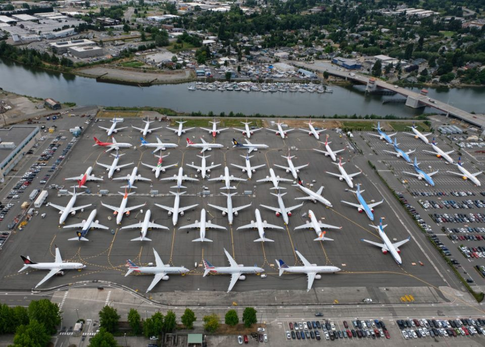 Boeing 737 Max planes sitting idle in Seattle