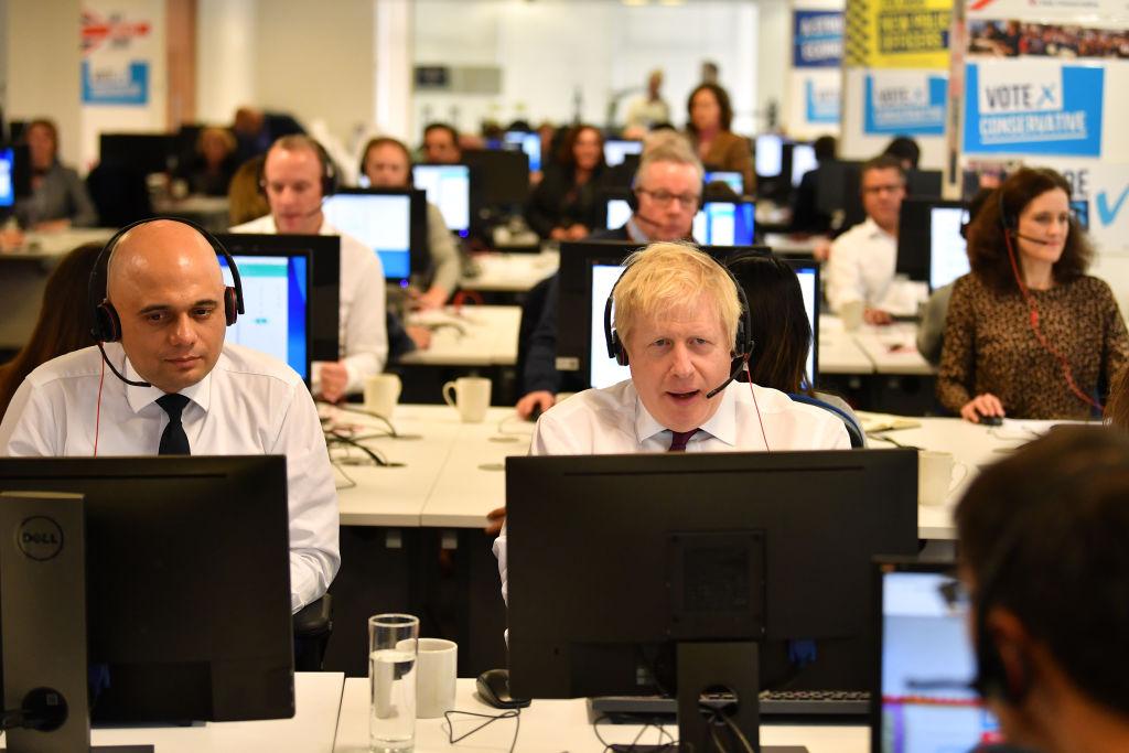 Boris Johnson Visits Conservative Campaign HQ