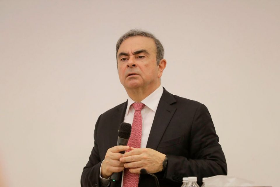 Carlos Ghosn giving a press conference last week