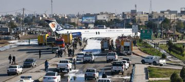 A reporter for state TV said there had been an issue with the plane's wheels