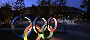 Olympic rings outside Tokyo's New National Stadium