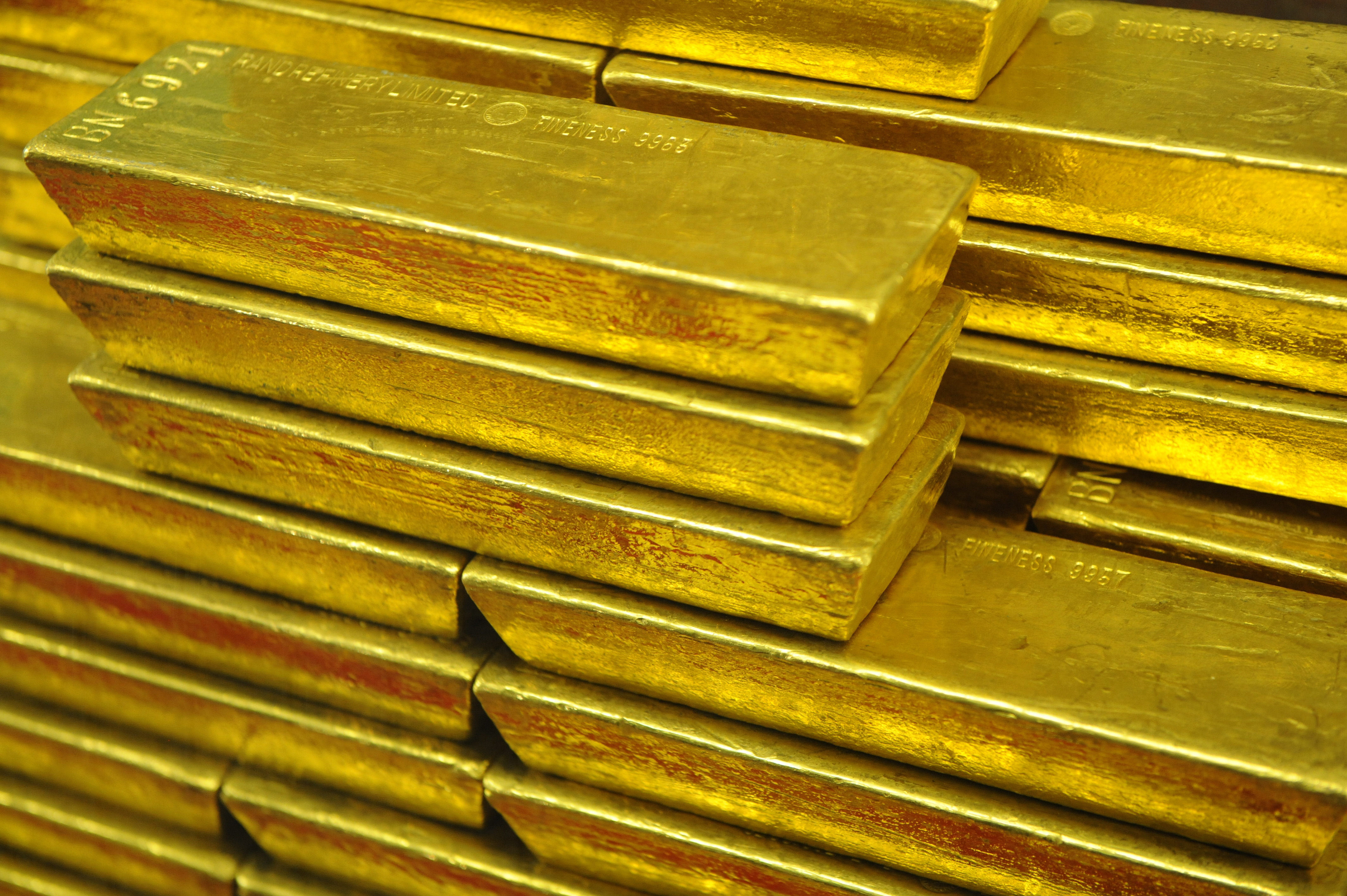 Gold bars are seen at the Czech Central