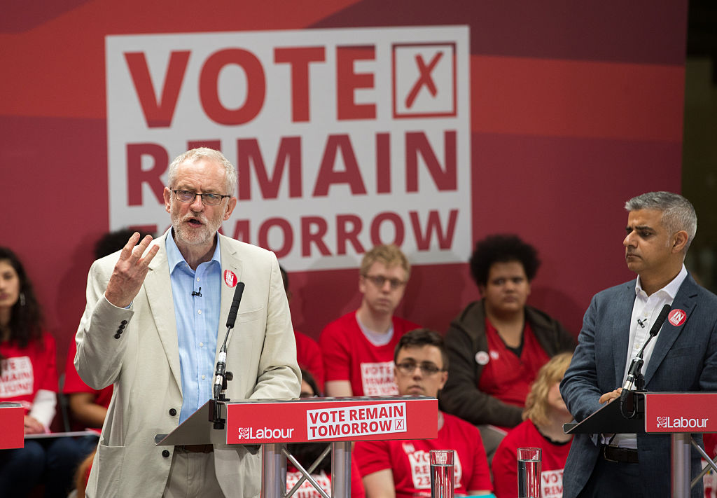 Both Sadiq Khan and Jeremy Corbyn (left) were Remainers of differing degrees