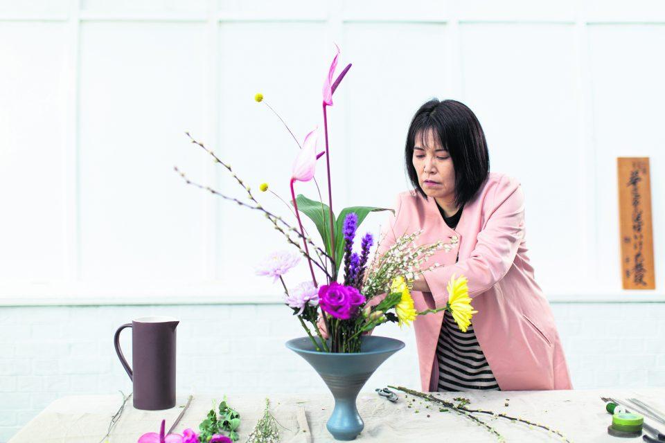 Professor Tomoko Sempo Yanagi leading an ikebana flower arranging class