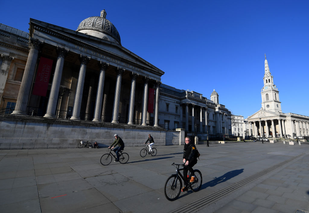 Trafalgar Square was empty yesterday as the UK went into lockdown