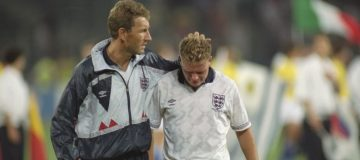 Terry Butcher and Paul Gascoigne of England