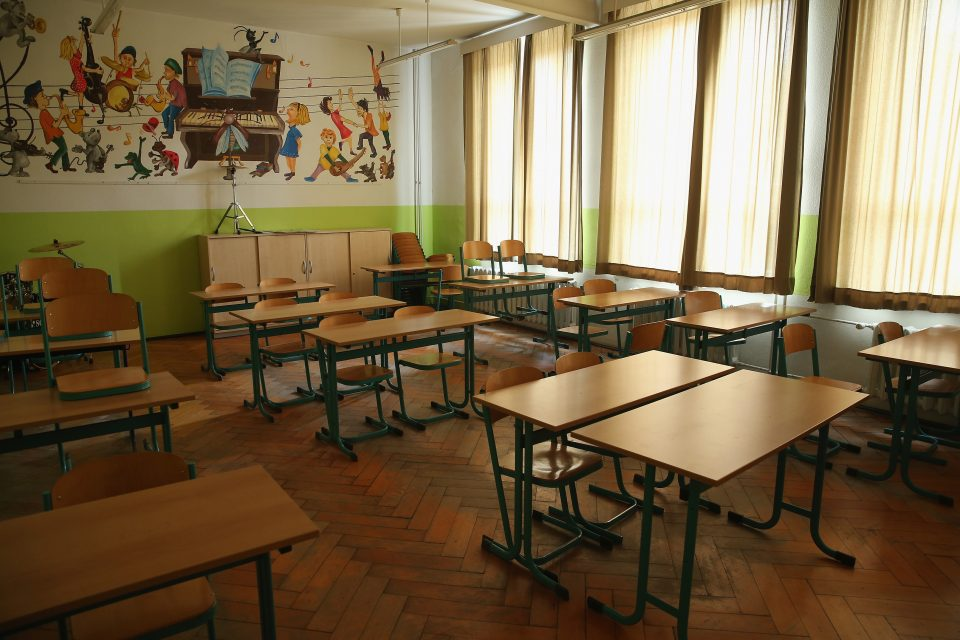 Empty school tables. Pearson has pledged free courseware in the UK and US as thousands of schools close to combat the coronavirus crisis