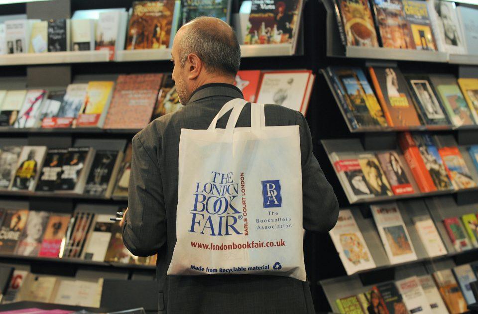 London Book Fair man holds bag