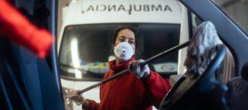 Red Cross Workers Help People During Coronavirus Crisis