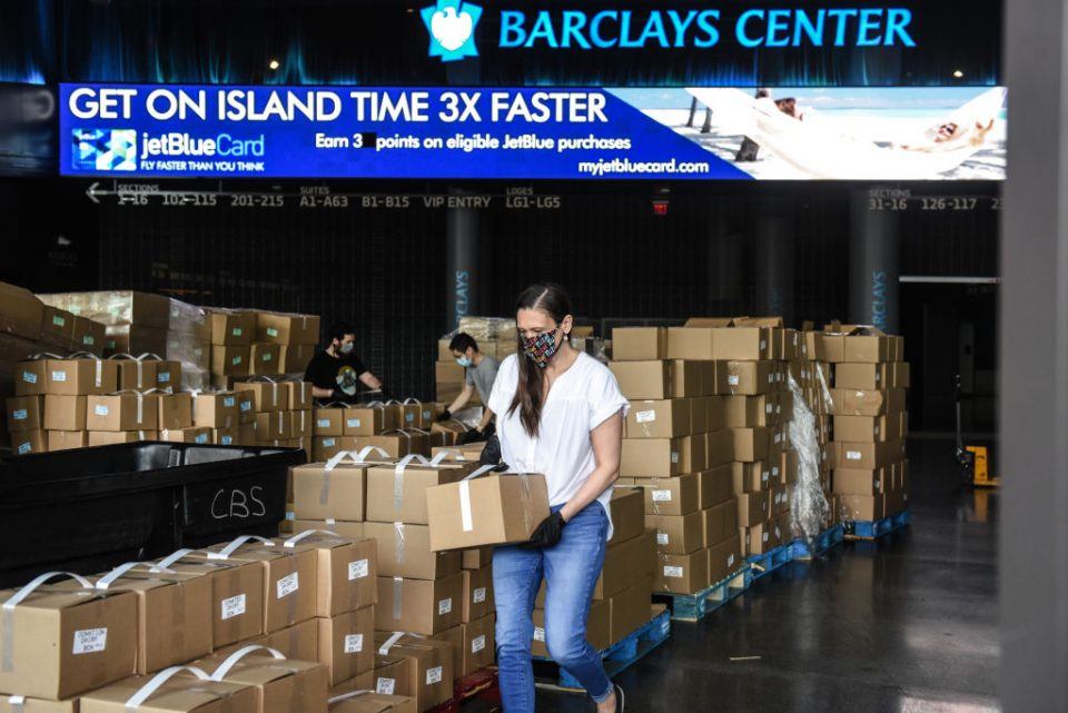 Food Bank Distributes To Those In Need At The Barclays Center In Brooklyn