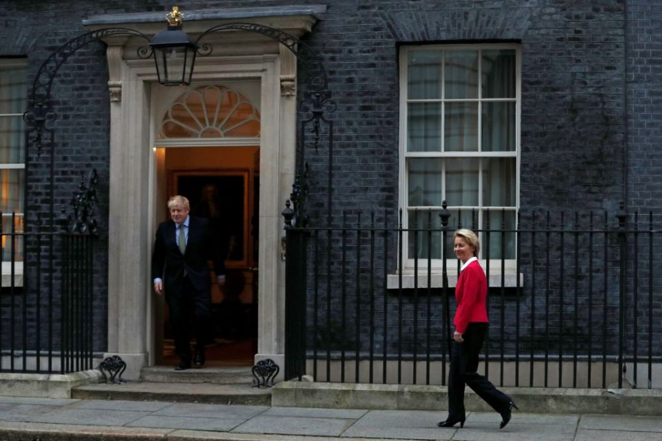 Ursula von der Leyen (right) is expected to hold crunch Brexit trade talks with Boris Johnson next month