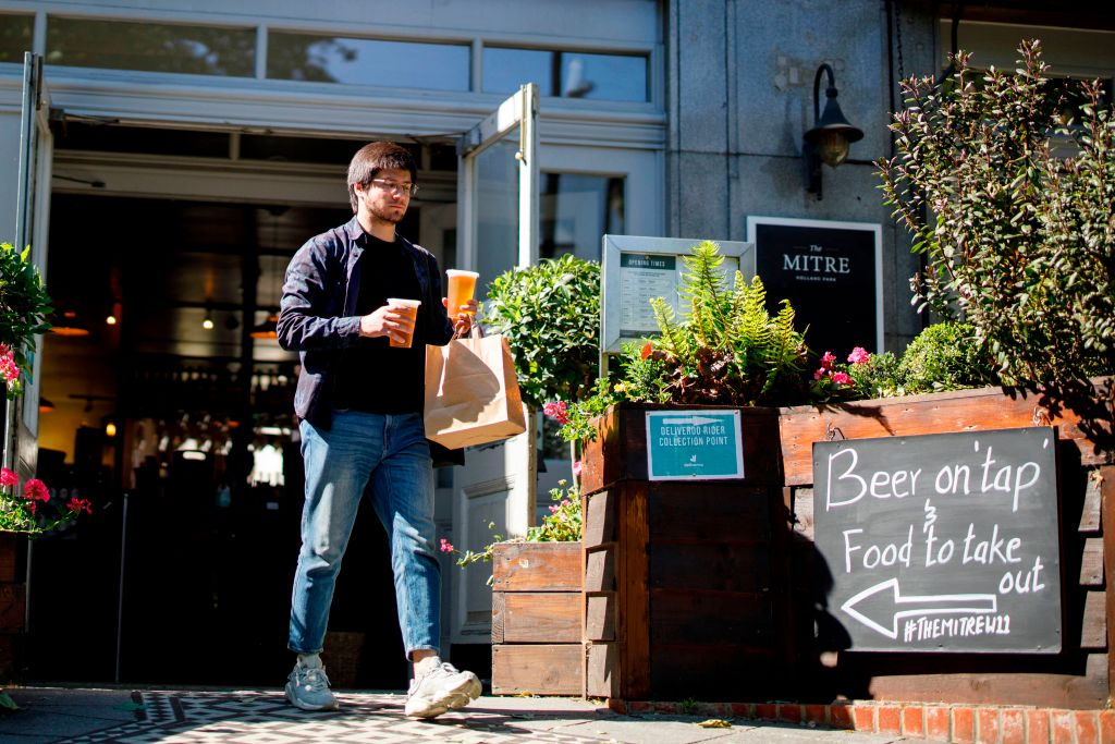 Britain's pubs have served takeaway pints during lockdown but the end of the two-metre gap should help them reopen on 4 July