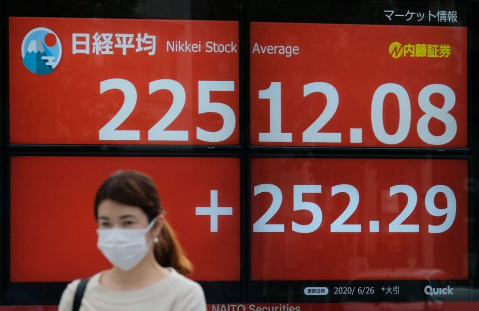 Asian stocks opened the week under a cloud as investors adopted a more defensive stance amid fears over the continuing spread of the coronavirus pandemic.
