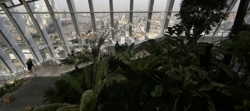 Visitors To The Sky Garden At The Top Of London's Newest Skyscraper