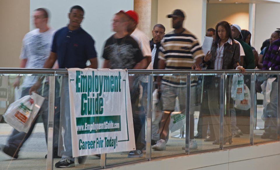 People seeking employment line up outsid