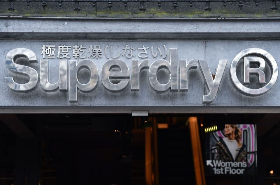 The Superdry logo on a store in Brussels