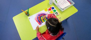 Children Maintain Social Distancing at Earlham Primary School