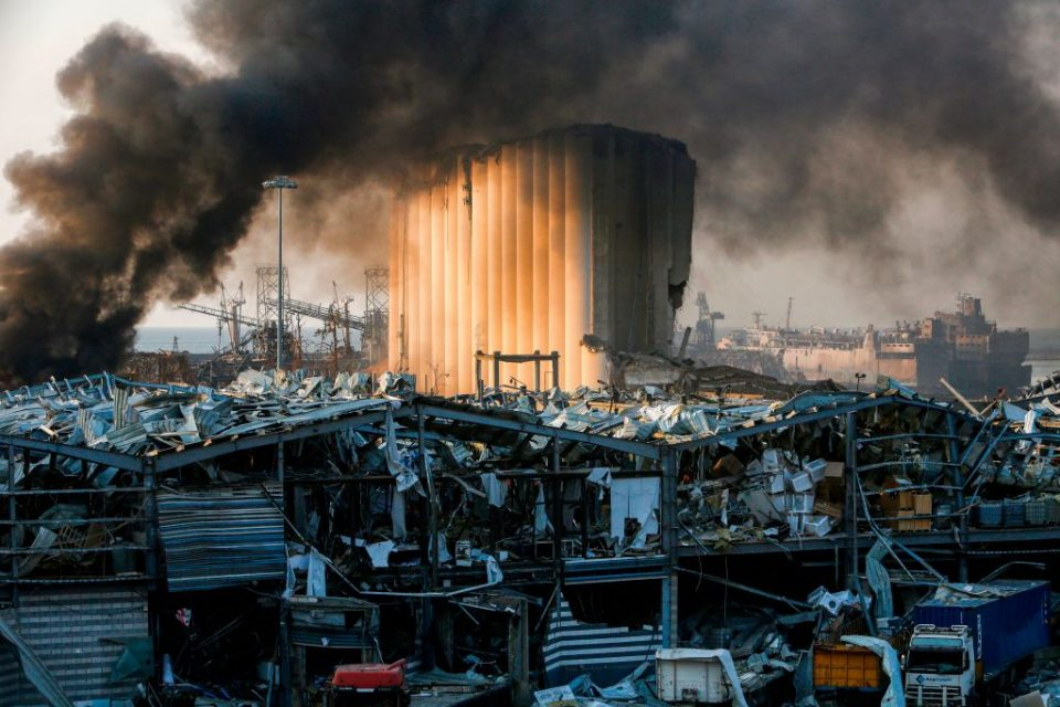 A picture shows a destroyed silo at the scene of an explosion at the port in the Lebanese capital Beirut