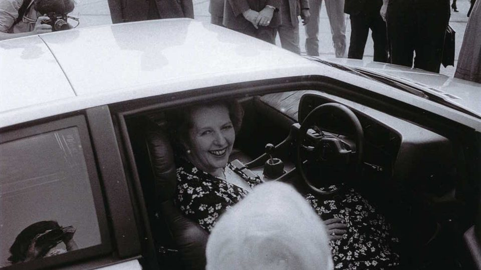 Margaret Thatcher in a Lotus Turbo Esprit