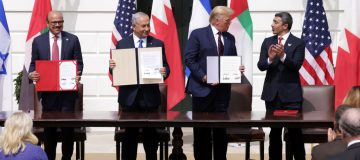 """Donald Trump hailed the """"dawn of the new Middle East"""" at the White House this afternoon as Bahrain and the UAE signed historic deals with Israel."""