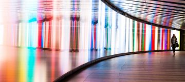 colourful walkway with woman
