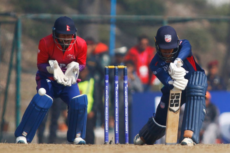 US cricketer Akshay Homraj plays a shot during the one day international cricket match of the ICC Cricket World Cup League 2 against Nepal
